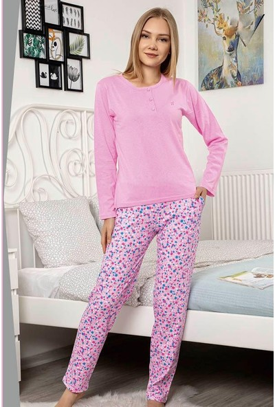 Akare 426 Pamuklu Likralı Memsimlik Kadın Pijama Takımı Ev Pijaması