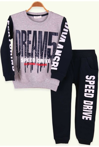 Breeze Erkek Çocuk Eşofman Takımı Dream Baskılı Açık Gri 6-12 Yaş