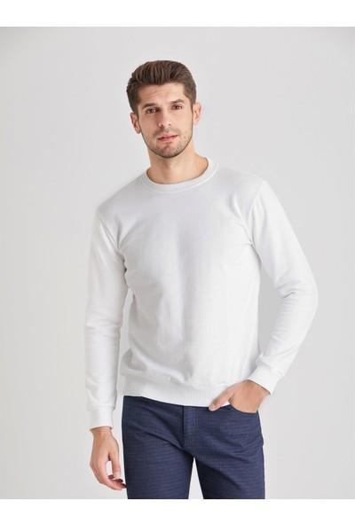 Dufy Beyaz Düz Erkek Sweatshirt - Modern Fit