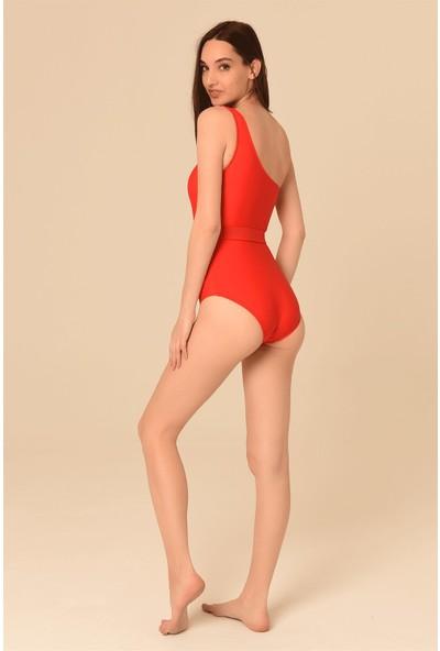 Aquaviva Kadın Kırmızı Tek Omuz Kemer Detaylı Mayo