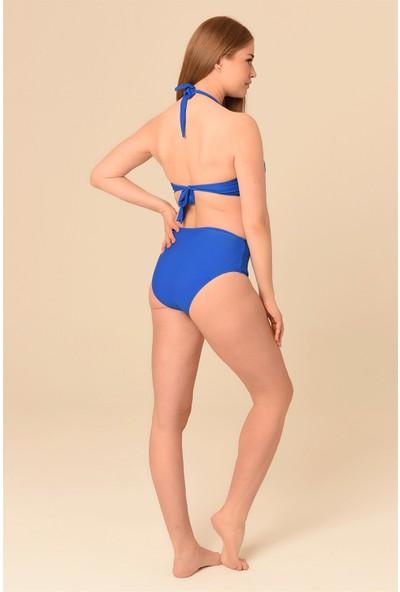Aquaviva Kadın Saks Büyük Beden Yüksek Bel Boyundan Bağlı Bikini Takımı