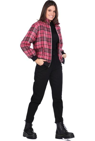Markapia Woman Ekose Oversize Kısa Kaban