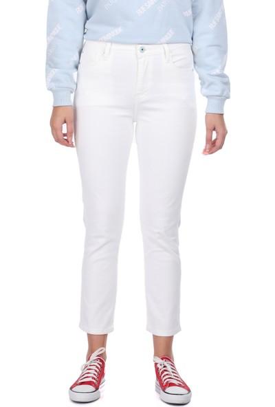 Markapia Woman Slim Fit Beyaz Kadın Jean Pantolon