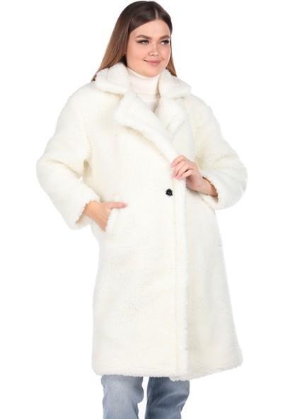 Markapia Woman Teddy Peluş Oversize Beyaz Kadın Kaban