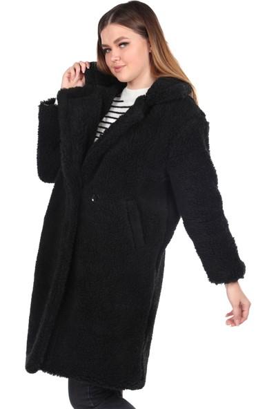 Markapia Woman Teddy Peluş Oversize Siyah Kadın Kaban