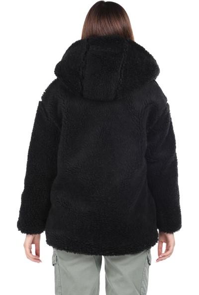 Markapia Woman Teddy Peluş Oversize Siyah Kapüşonlu Kadın Kaban