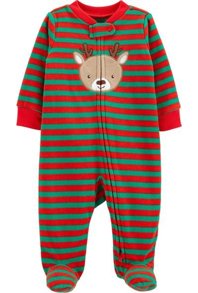Carter's Patikli Polar Bebek Pijama Tulumu Kırmızı - Yeşil Yenidoğan