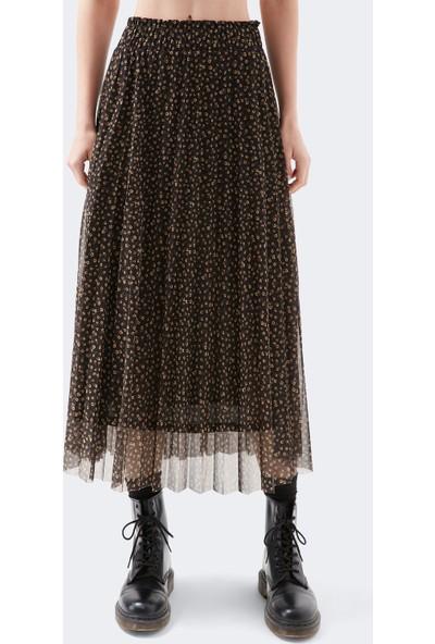 Mavi Kadın Çiçekli Uzun Siyah Etek 131023-33026