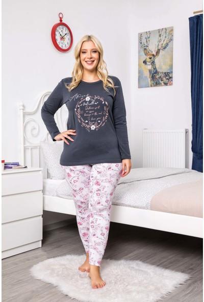 MyBen Büyük Beden Pijama Takımı Bisiklet Yaka Antrasit Renkli Desenli Uzun Kollu Battal Beden Pijama Takımı 16083