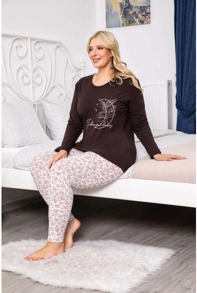 MyBen Büyük Beden Pijama Takımı Bisiklet Yaka Kahve Renkli Baskılı Uzun Kollu Battal Beden Pijama Takımı 16072
