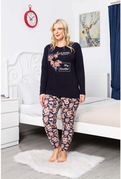 MyBen Büyük Beden Pijama Takımı Bisiklet Yaka Lacivert Renkli Baskılı Uzun Kollu Battal Beden Pijama Takımı 16100