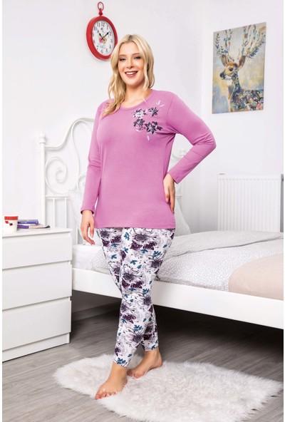 MyBen Büyük Beden Pijama Takımı Bisiklet Yaka Lila Renkli Desenli Uzun Kollu Battal Beden Pijama Takımı 16087