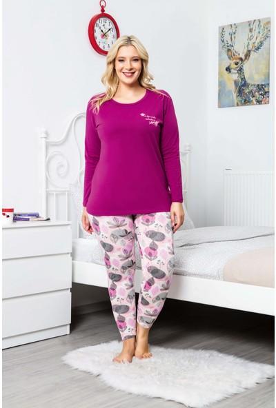 MyBen Büyük Beden Pijama Takımı Bisiklet Yaka Mürdüm Renkli Baskılı Uzun Kollu Battal Beden Pijama Takımı 16123