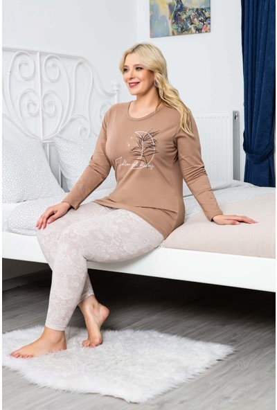MyBen Büyük Beden Pijama Takımı Bisiklet Yaka Vizon Renkli Baskılı Uzun Kollu Battal Beden Pijama Takımı 16115