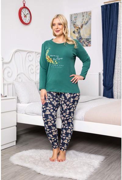 MyBen Büyük Beden Pijama Takımı Bisiklet Yaka Yeşil Renkli Baskılı Uzun Kollu Battal Beden Pijama Takımı 16078