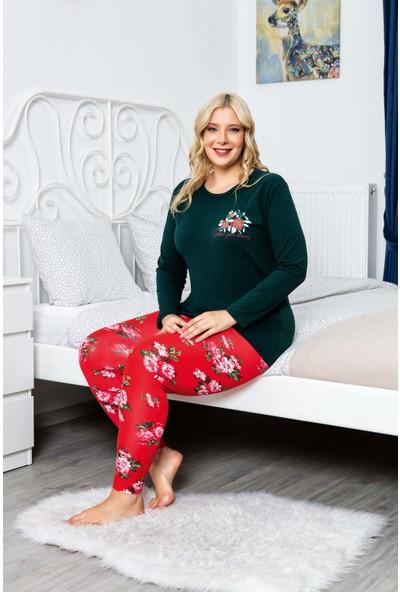 MyBen Büyük Beden Pijama Takımı Bisiklet Yaka Yeşil Renkli Desenli Uzun Kollu Battal Beden Pijama Takımı 16095