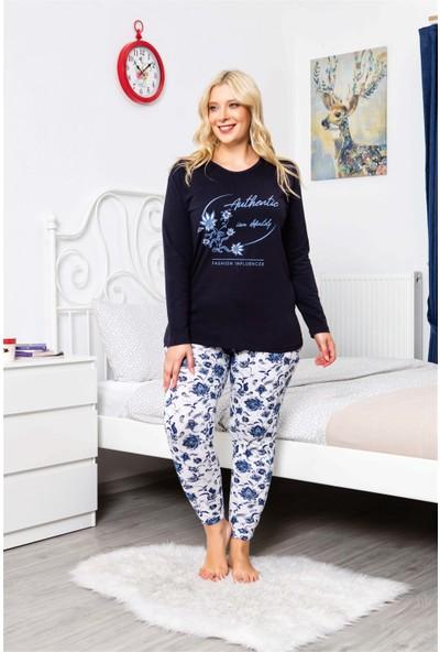 MyBen Büyük Beden Pijama Takımı Çiçek Baskılı Uzun Kollu Battal Beden Pijama Takımı 16106