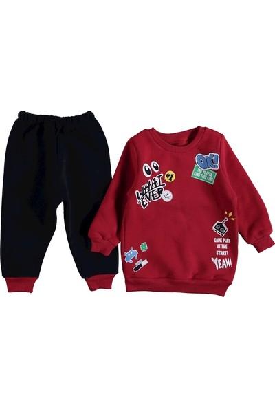 Moyes Kids Baskılı Üç Ip Polar Takım Bordo