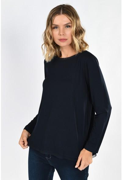 Whip Design Lacivert Düz Kayık Yaka Standart Boy Uzun Kol Viskon Bluz