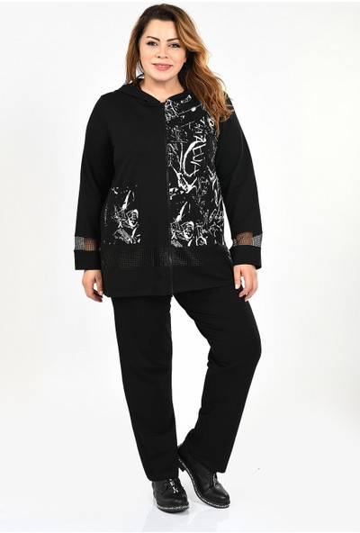 Optique Knitwear Siyah Baskılı Kapşonlu Standart Boy Uzun Kol Viskon Eşofman Takım
