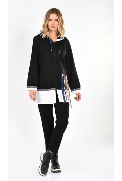 Optique Knitwear Siyah Kurdelalı Kapşonlu Standart Boy Uzun Kol Viskon Eşofman Takım
