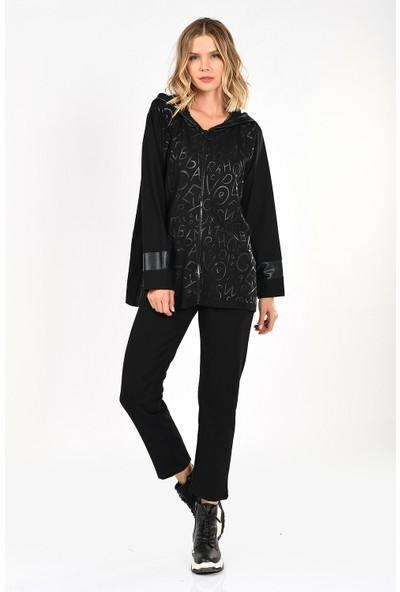 Optique Knitwear Siyah Yazı Baskılı Kapşonlu Standart Boy Uzun Kol Viskon Eşofman Takım