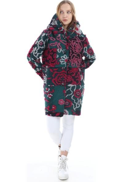 Fd Fast Kadın İtalyan Turkuaz Floral Desenli Kaban 16110