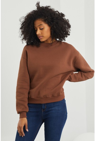 4 Sisters Fashion Içi Polarlı Kahverengi Sweatshirt