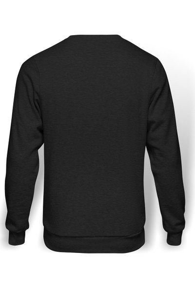 Tshirthane Pi Black Logo Baskılı Erkek Örme Sweatshirt Uzun Kol