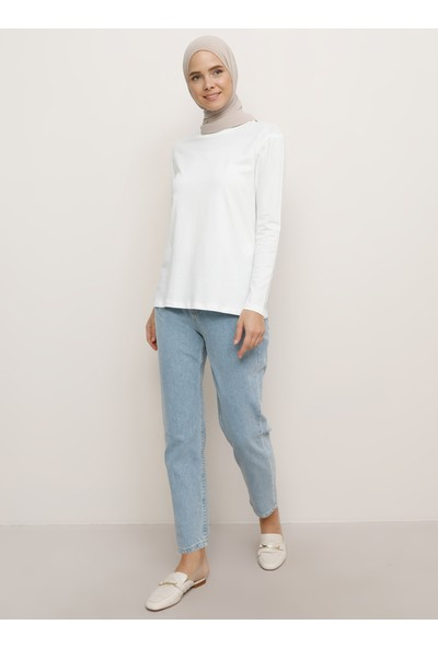 Everyday Basic Uzun Kollu Pamuk Kumaşlı Basic T-Shirt Beyaz