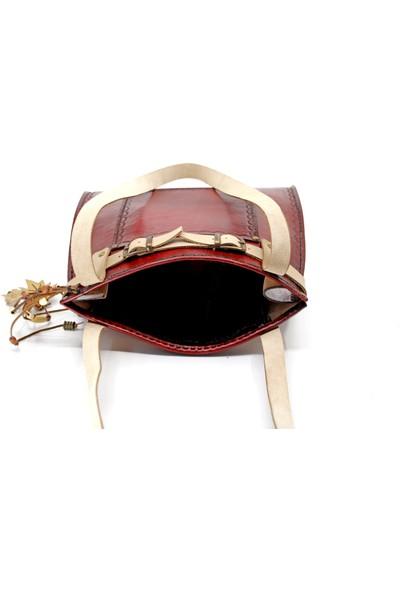 El Yapımı Damla Klasik Model Bordo Deri Kadın Çanta