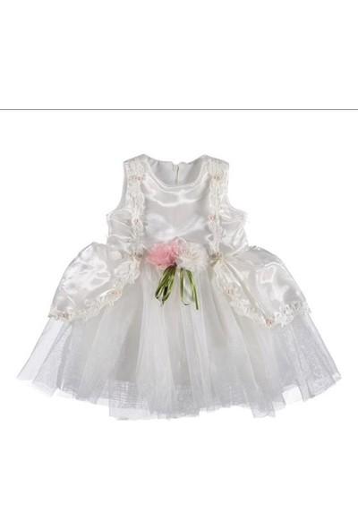 Babexi Incili Dantelli Krem Rengi Çocuk Abiye Elbise Özel Gün Düğün