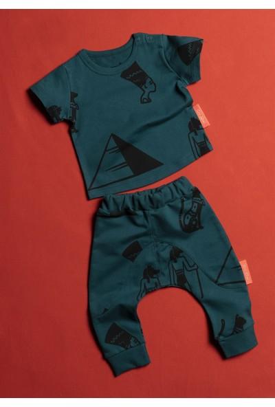 Moi Noi Mısır Desenli Yeşil Bebe 2'Li Takım