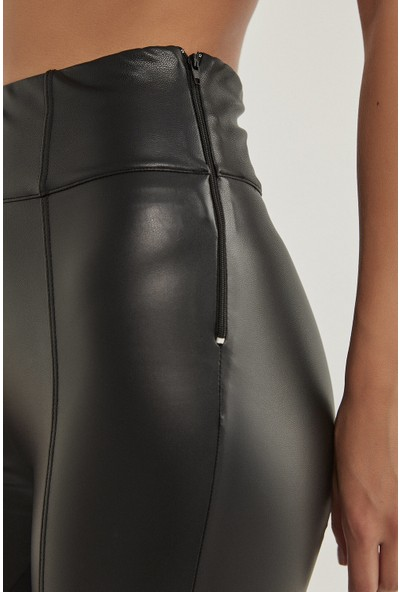 Penti Siyah Deri Görünümlü Slim Fit Termal Tayt
