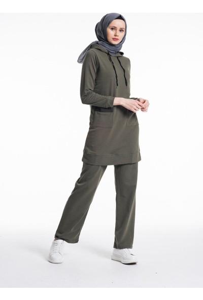 Shopping Go Kadın Haki Yeşil Efsane 2'li Eşofman Takımı 10627