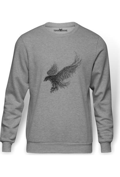 Tshirthane Kel Kartal Kuşu Kanatları Parçacıklar Baskılı Gri Melanj Erkek Örme Sweatshirt Uzun kol