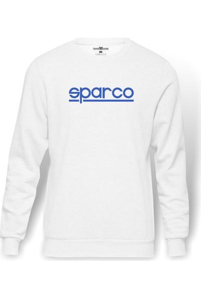 Tshirthane Sparco Logo Baskılı Beyaz Erkek Örme Sweatshirt Uzun kol