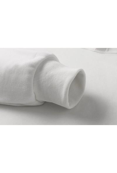 Tshirthane Hooop Baskılı Beyaz Erkek Örme Sweatshirt Uzun kol