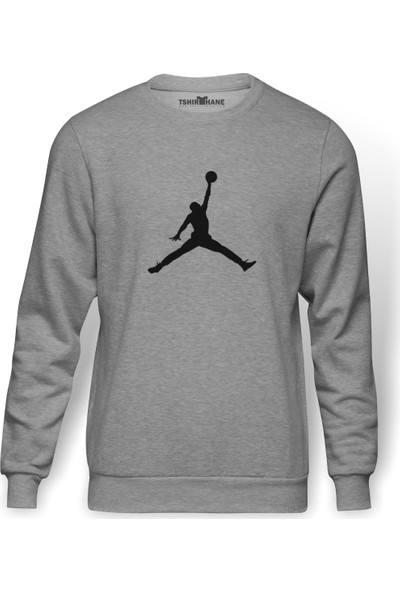 Tshirthane Basketbol Baskılı Gri Melanj Erkek Örme Sweatshirt Uzun kol