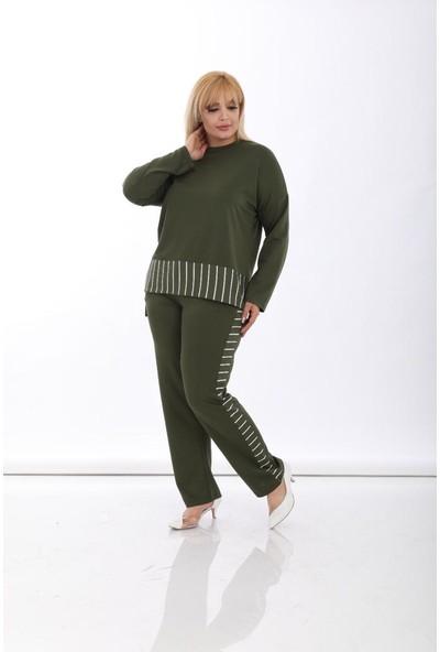 Mezura Tekstil Yeşil Çizgili Eşofman