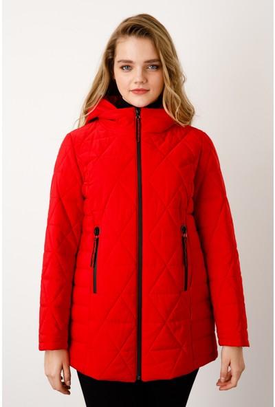 Ekol Kadın Baklava Desenli Kapüşonlu Kaban 6058505 Kırmızı