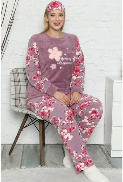 Pijama Evi Yaprak Desenli Büyük Beden Battal Kadın Peluş Pijama Takımı