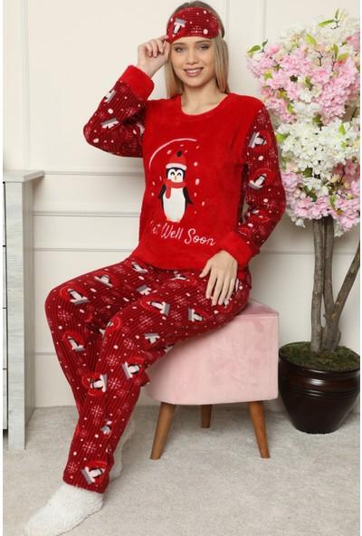 Pijama Evi Get Well Soon Desenli Kadın Peluş Pijama Takımı