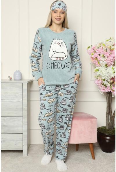 Pijama Evi Big Cat Desenli Kadın Peluş Pijama Takımı