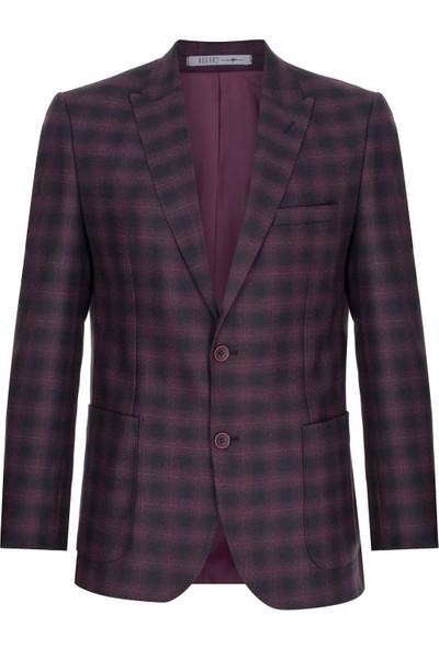 İgs Erkek Bordo Slım Fıt / Dar Kalıp 9Cm Kırlangıç Ceket