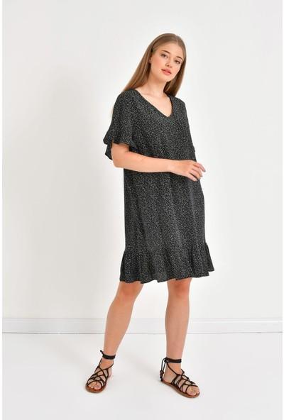 Myline Eteği ve Kolları Fırfırlı Elbise