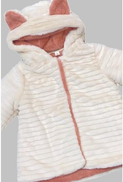 Midimod Kürklü Kapüşonlu Kız Çocuk Ekru Kaban Mont