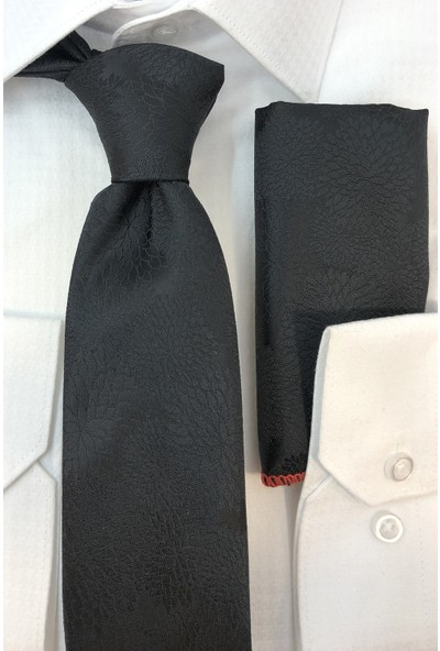 Quesste Siyah Desenli Ince Kravat Mendil Set