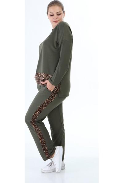 Mezura Tekstil Leopar Yeşil Eşofman Takımı