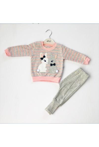 Elci Kız Bebek Tavşan Figürlü 2 Li Takım ,sweat Pantolon Takım
